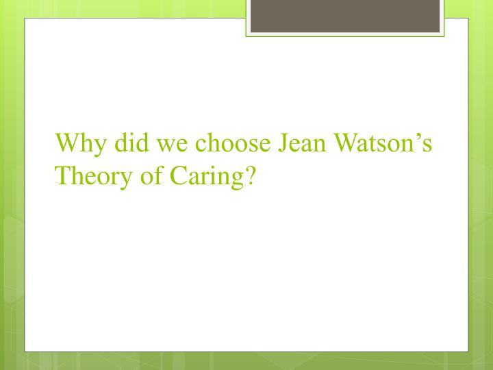 Why did we choose Jean Watson's Theory of Caring?