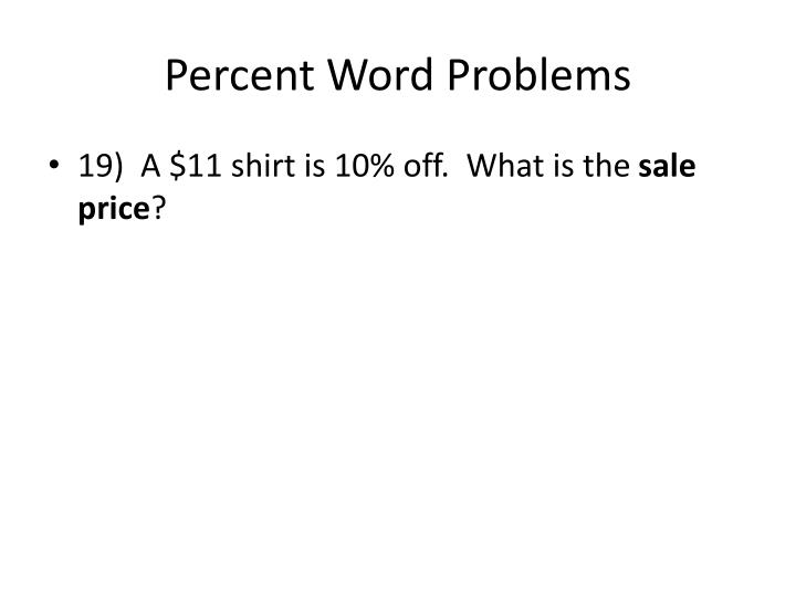 Percent Word Problems