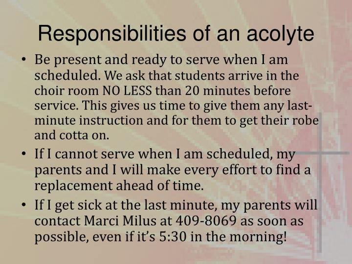 Responsibilities of an acolyte