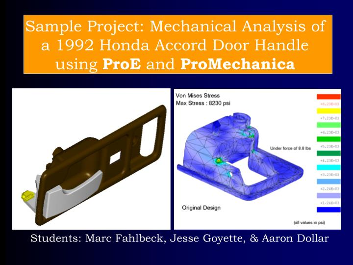 Sample Project: Mechanical Analysis of a 1992 Honda Accord Door Handle using