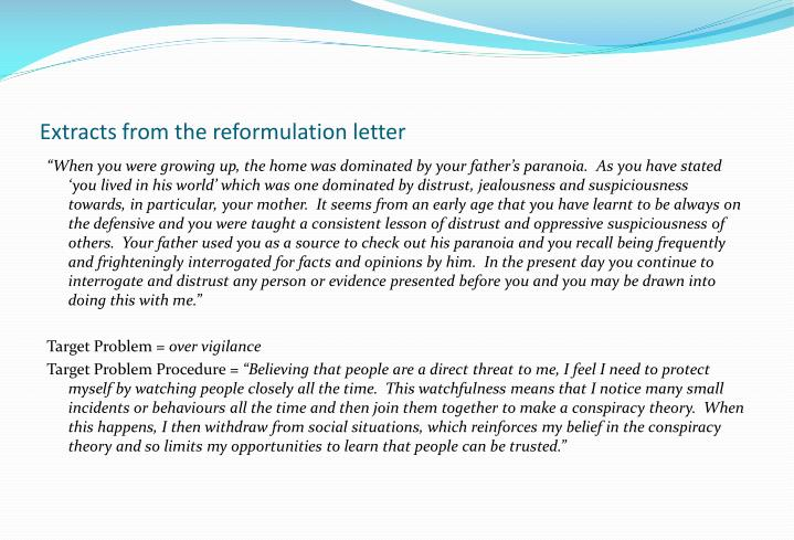 Extracts from the reformulation letter