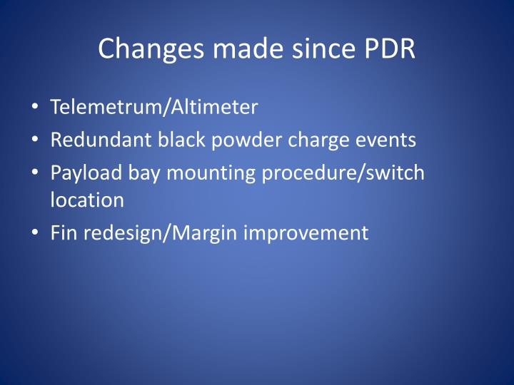 Changes made since PDR