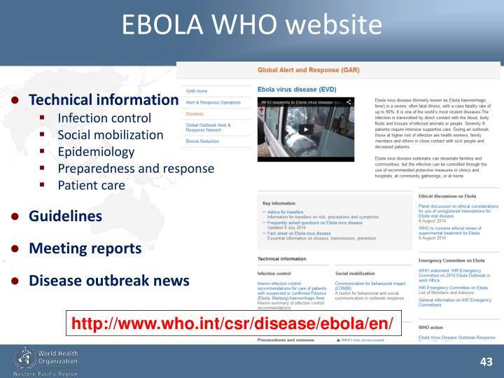 EBOLA WHO website