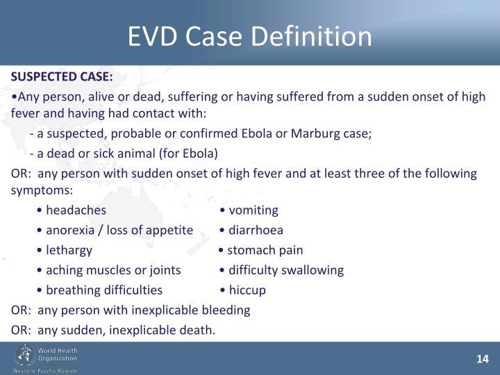 EVD Case Definition