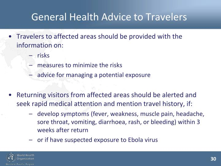 General Health Advice to Travelers