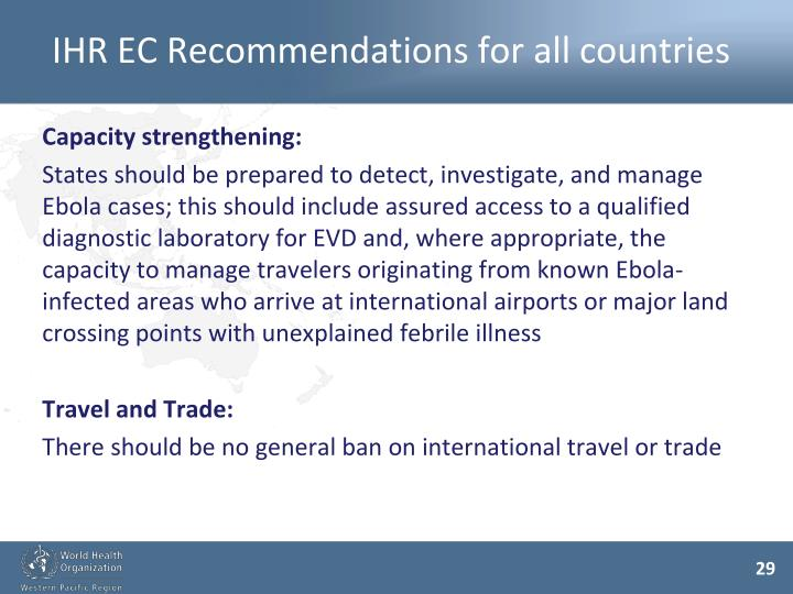 IHR EC Recommendations for all countries