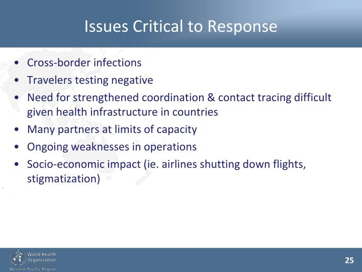 Issues Critical to Response