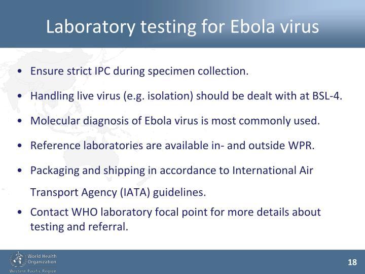Laboratory testing for Ebola virus