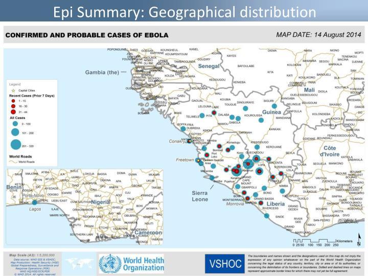 Epi Summary: Geographical distribution