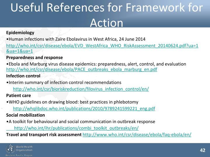 Useful References for Framework for Action