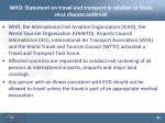who statement on travel and transport in relation to ebola virus disease outbreak