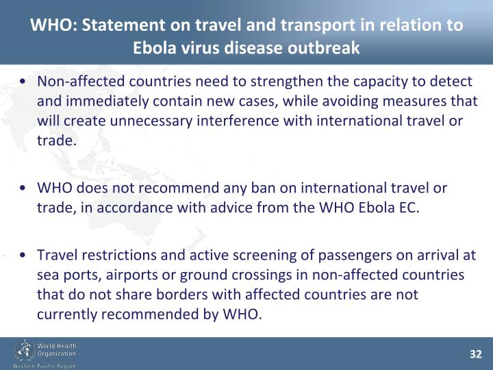 WHO: Statement on travel and transport in relation to Ebola virus disease outbreak