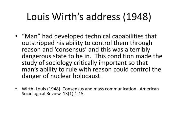Louis Wirth's address (1948)