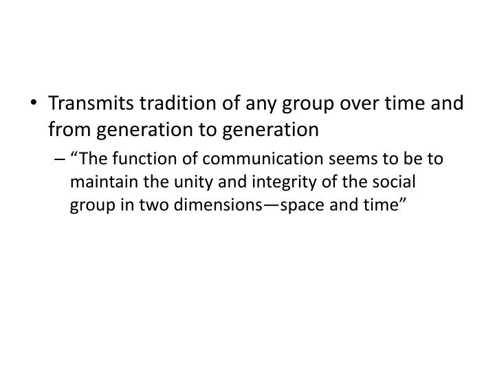 Transmits tradition of any group over time and from generation to generation