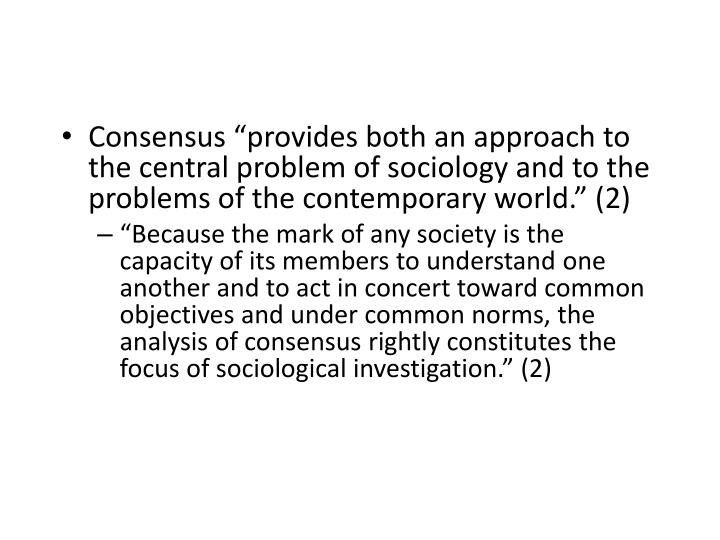 "Consensus ""provides"