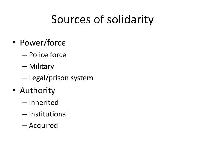 Sources of solidarity