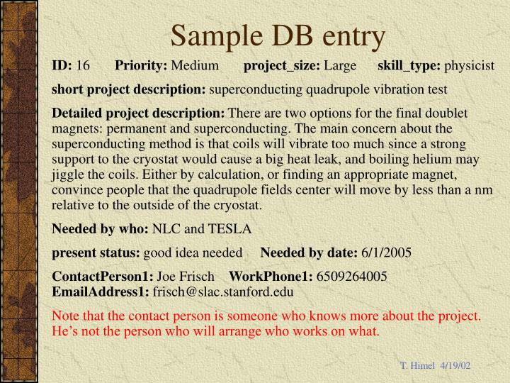 Sample DB entry