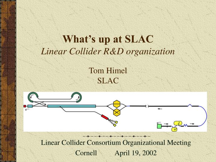 What s up at slac linear collider r d organization tom himel slac