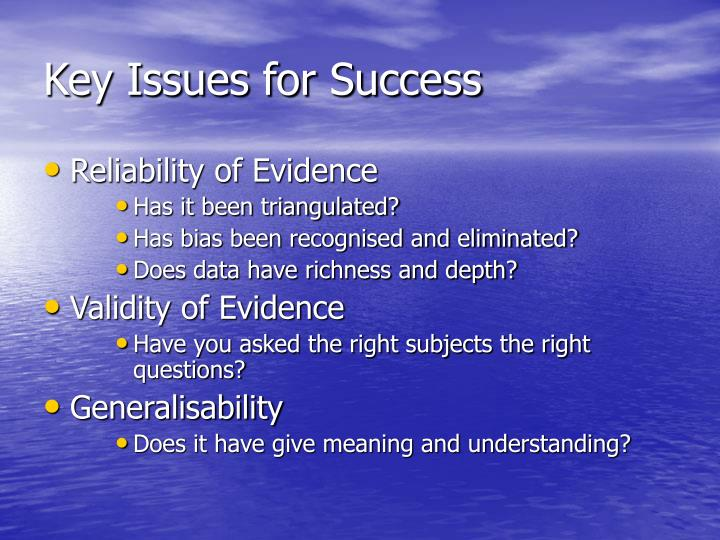 Key Issues for Success