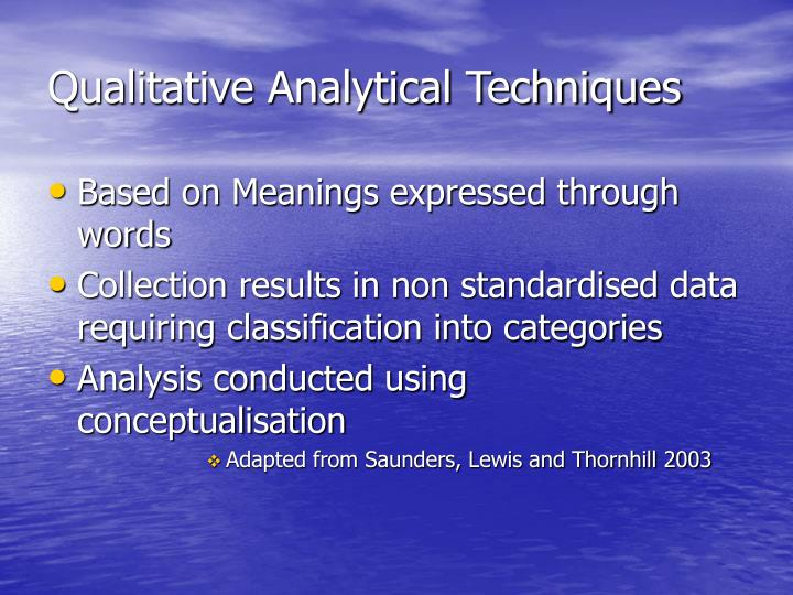 Qualitative Analytical Techniques