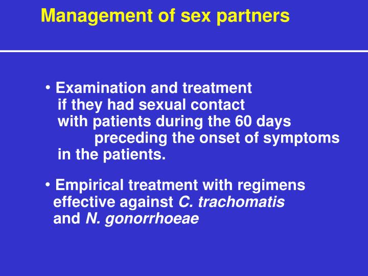 Management of sex partners