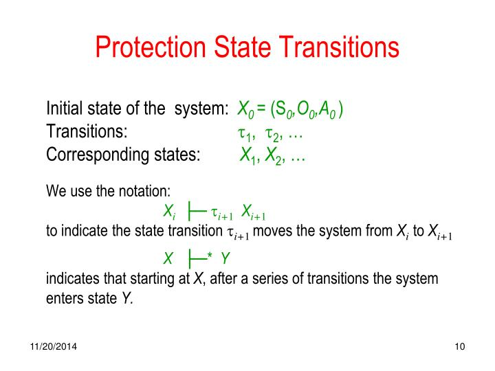 Protection State Transitions