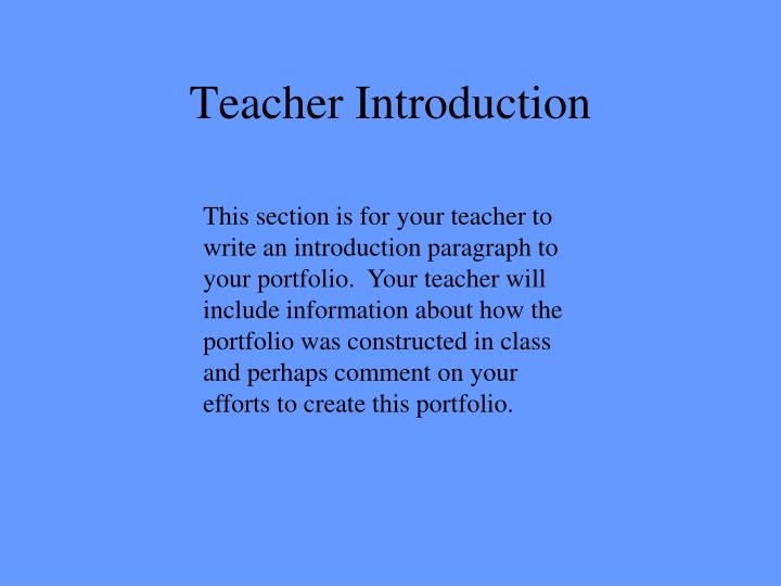 Teacher Introduction