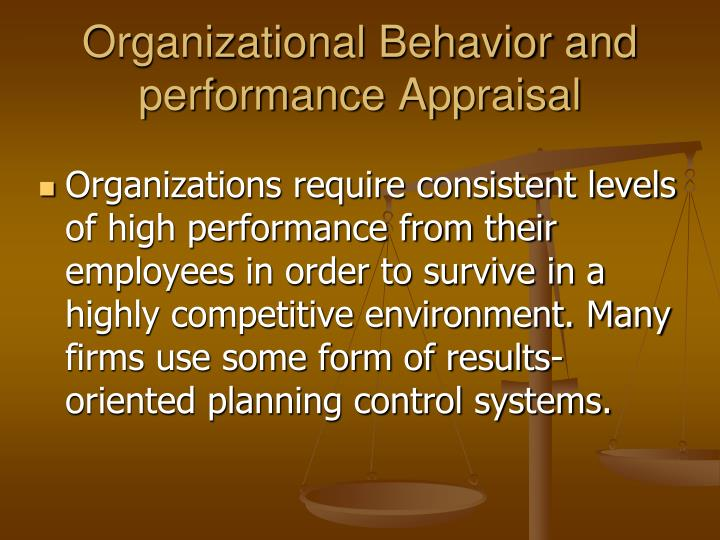 Organizational Behavior and performance Appraisal