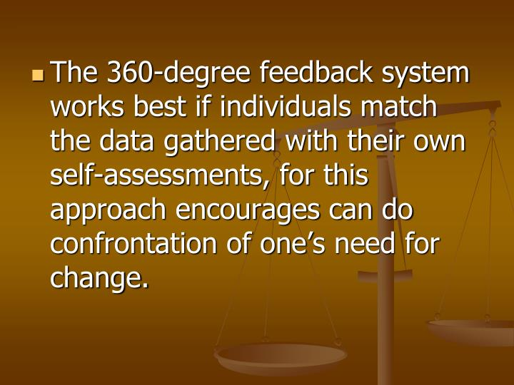The 360-degree feedback system works best if individuals match the data gathered with their own self-assessments, for this approach encourages can d