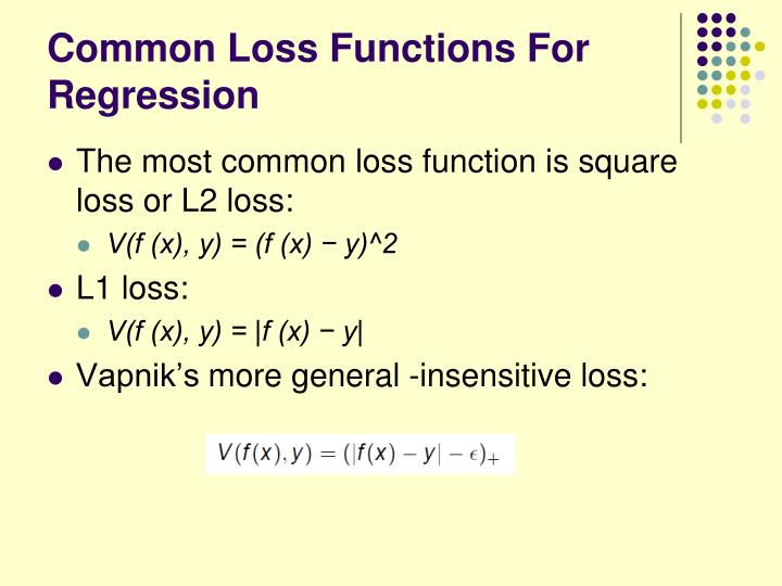 Common Loss Functions For Regression