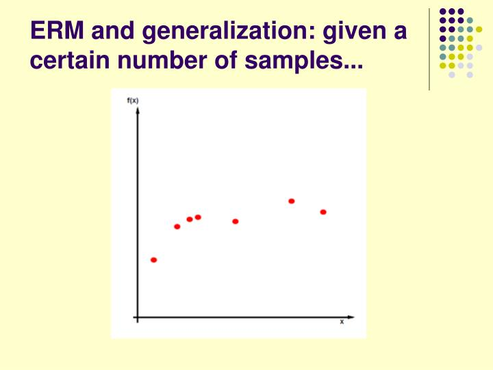 ERM and generalization: given a certain number of samples...