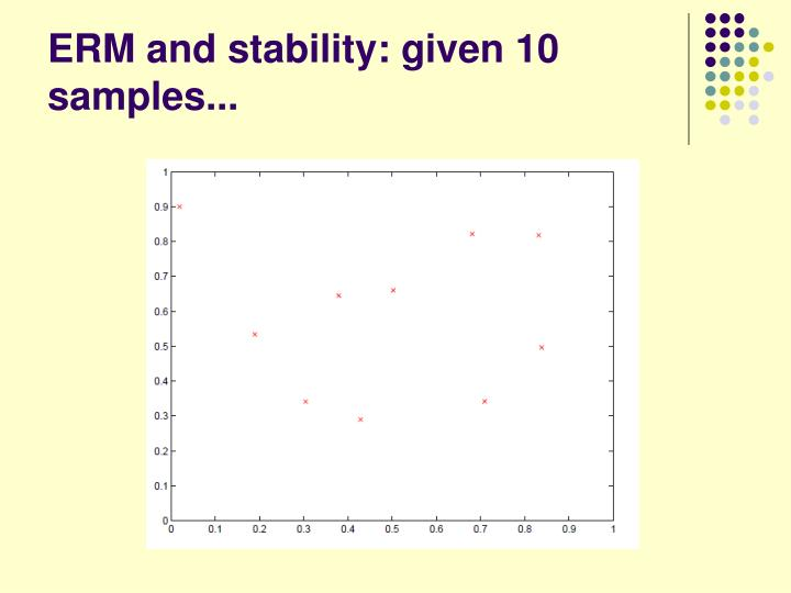 ERM and stability: given 10 samples...