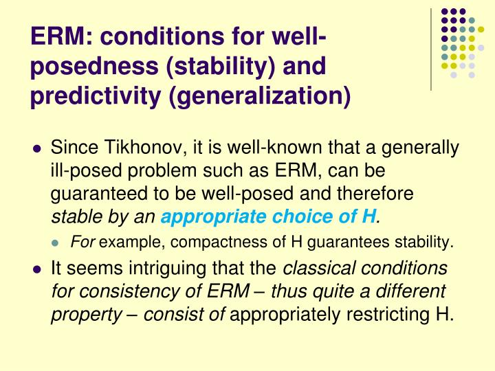 ERM: conditions for well-