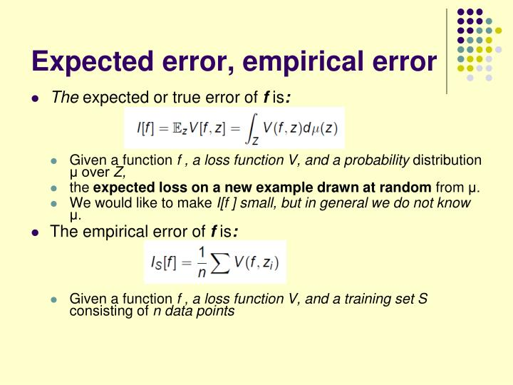 Expected error, empirical error