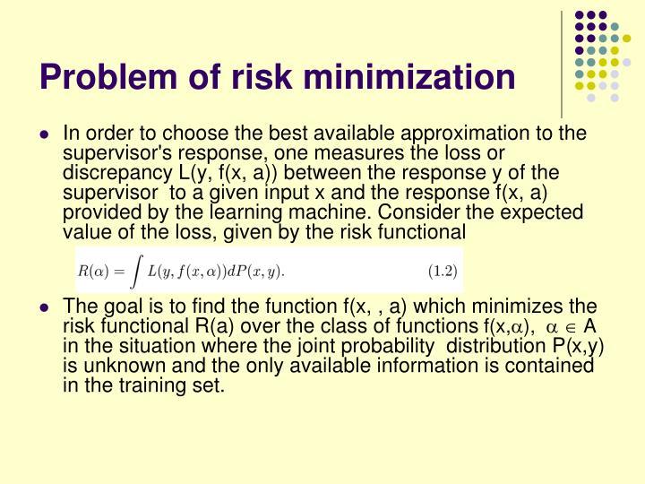 Problem of risk minimization