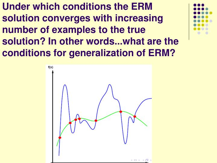 Under which conditions the ERM solution