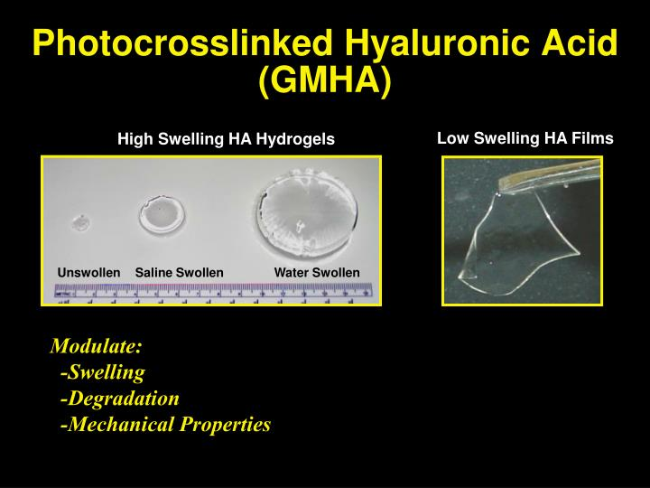 Photocrosslinked hyaluronic acid gmha
