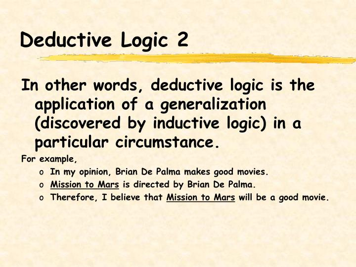 Deductive Logic 2