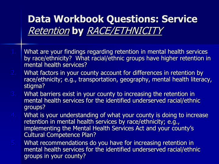 Data Workbook Questions: Service