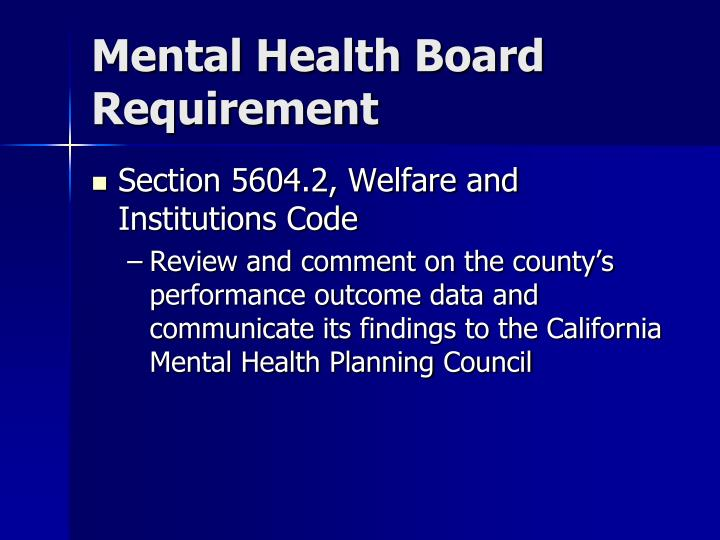 Mental Health Board Requirement