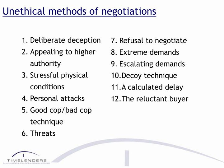 Unethical methods of negotiations