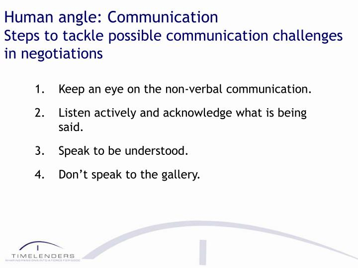 Human angle: Communication