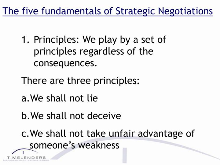 The five fundamentals of Strategic Negotiations