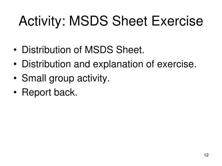Activity: MSDS Sheet Exercise
