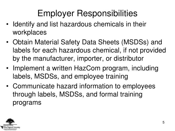 Identify and list hazardous chemicals in their workplaces