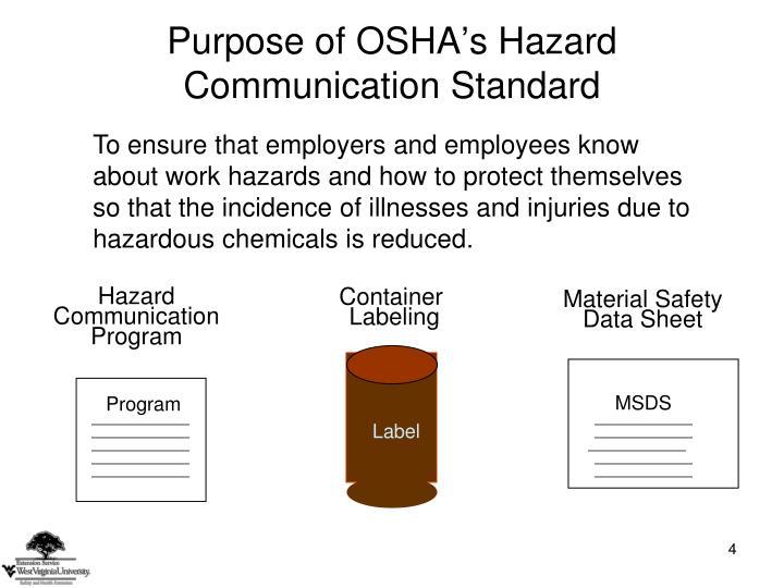Purpose of OSHA's Hazard Communication Standard