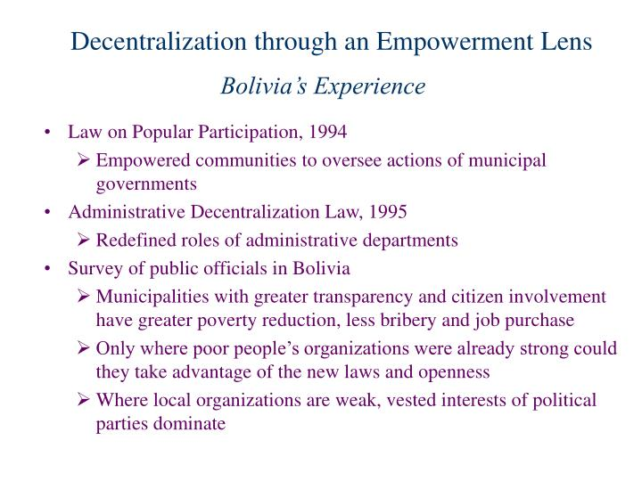 Decentralization through an Empowerment Lens