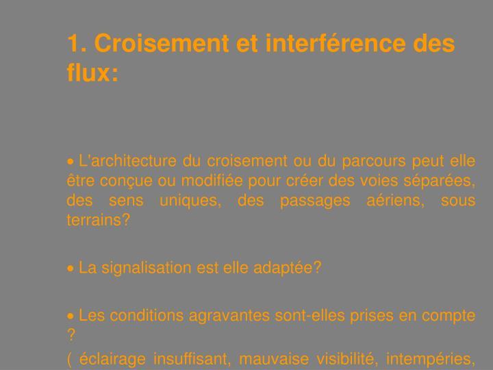 1. Croisement et interférence des flux: