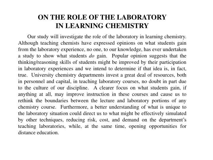 ON THE ROLE OF THE LABORATORY