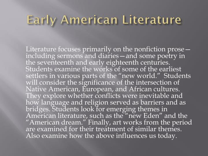 early american literature essays